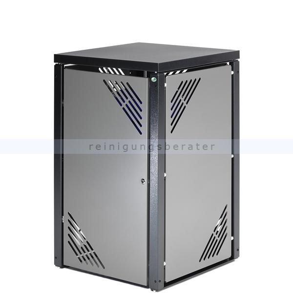 Müllbehälterschrank VAR MBS 1 silber für 120 L bzw. 240 L Müllbehälter, mit Deckel und Schloss 21250