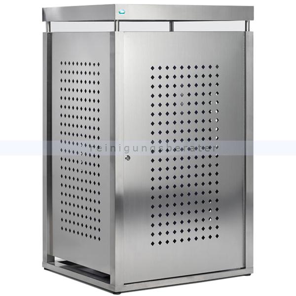 Müllbehälterschrank VAR Mülltonnenbox Edelstahl 120 L für 120 Liter Mülltonnen, abschließbar für optimalen Schutz 21261