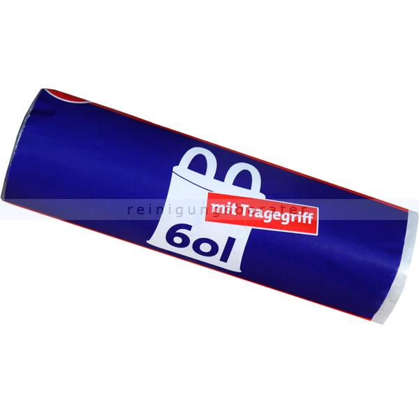 Müllbeutel mit Tragegriff 60 L 9 my, 20 Stück/Rolle