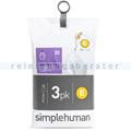 Müllbeutel Simplehuman code E, 3 x Pack mit 20 Stück, 20 L