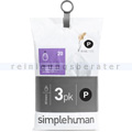 Müllbeutel Simplehuman code P, 3x Pack mit 20 Stück, 50-60 L