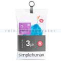 Müllbeutel Simplehuman code V, 3x Pack mit 20 Stück, 16-18 L