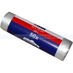 Müllbeutel transparent 60 L 6 my, 50 Stück/Rolle