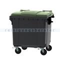 Müllcontainer fahrbarer Container 1100 L grau, grün