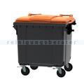 Müllcontainer fahrbarer Container 1100 L grau, orange