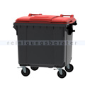 Müllcontainer fahrbarer Container 1100 L grau, rot