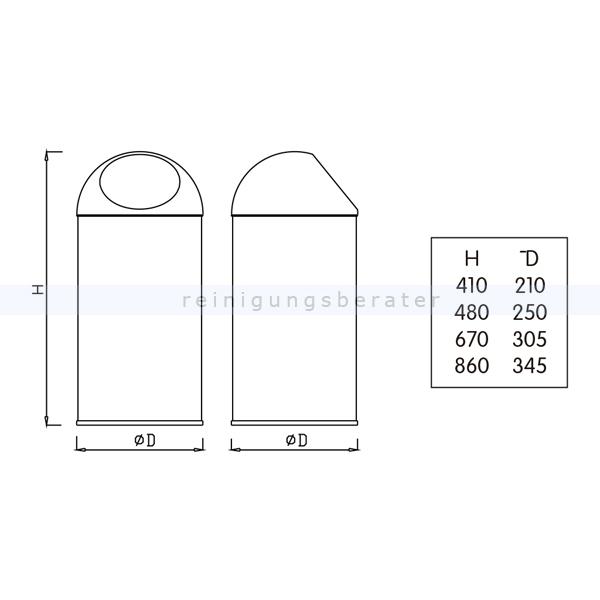 m lleimer aus edelstahl mit push deckel 18 l. Black Bedroom Furniture Sets. Home Design Ideas