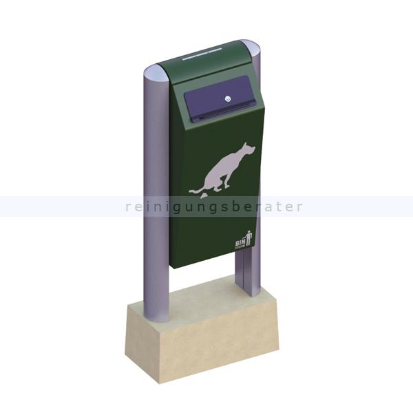 BINsystem Hundetoilette grün 60 L VB 711611 robuster Abfalleimer, verzinkter pulverbeschichteter Stahl
