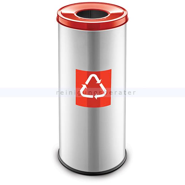 Recycling Mülleimer easybin eco flex 45 l silber rot matt recycling mülleimer