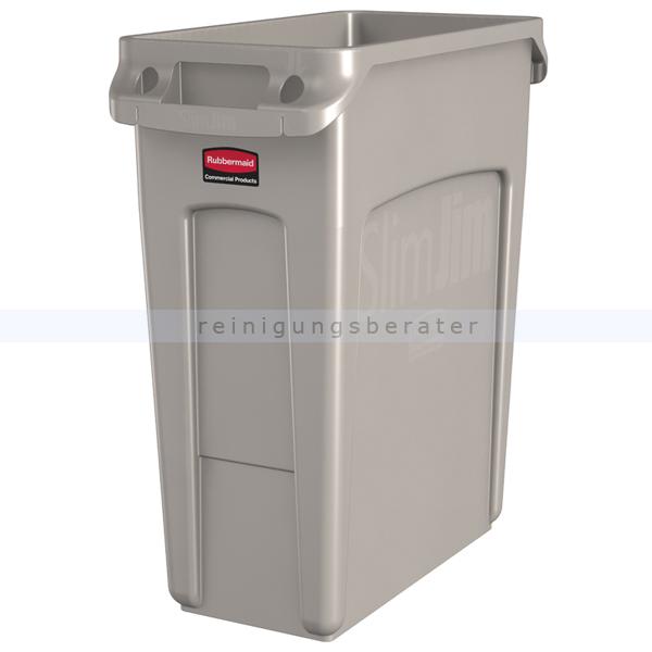 Rubbermaid Slim Jim mit Luftschlitze 60 L beige Mülleimer feste, gegossene Griffe 76227918