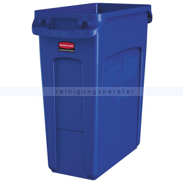 Rubbermaid Slim Jim mit Luftschlitze 60 L blau Mülleimer feste, gegossene Griffe 76227901