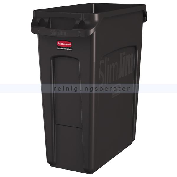 Rubbermaid Slim Jim mit Luftschlitze 60 L braun Mülleimer feste, gegossene Griffe 76227864