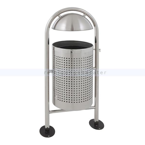 Mülleimer Runder Abfallbehälter Edelstahl matt 27 L mit Regendach und Metallinneneimer, feuerfest