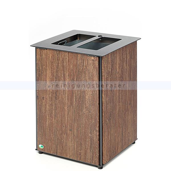 Mülleimer VAR Abfallbehälter AB 03 Edelstahl Holzoptik 80 L