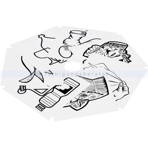 Mülleimer Zubehör VAR Piktogramm Aufklebersatz 7-fach Aufkleberset für Mülltrennsysteme und Müllbehälter 1951