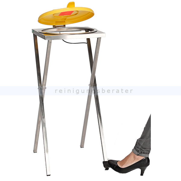 Müllsackständer VAR Scherenständer mit Fußpedal 120 L gelb ideal für 120 L Müllsäcke, robuste und stabile Konstruktion 3635
