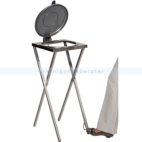 Müllsackständer VAR Scherenständer mit Fußpedal 120 L silber ideal für 120 L Müllsäcke, robuste und stabile Konstruktion 3637