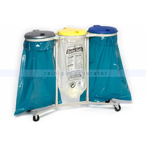 Müllsackständer VAR WS 3-fach Müllsackhalter fahrbar ideal für 120 L Müllsäcke, robuste und stabile Konstruktion 1660