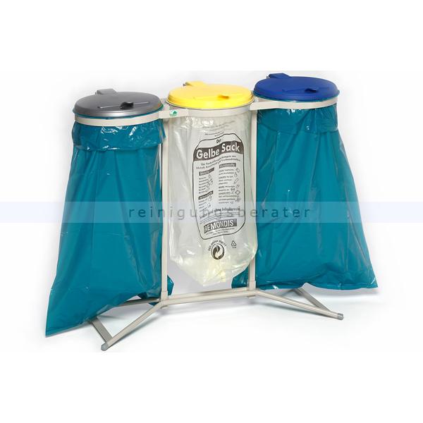 Müllsackständer VAR WS 3-fach Müllsackhalter stationär ideal für 120 L Müllsäcke, robuste und stabile Konstruktion 1650
