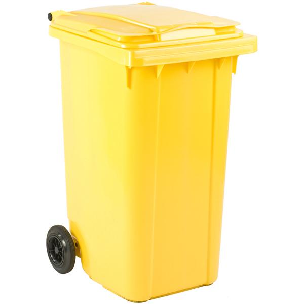 Mülltonne Ese Kunststoff 240 L Gelb Mit Klappdeckel Und Rollen Widerstandsfähig
