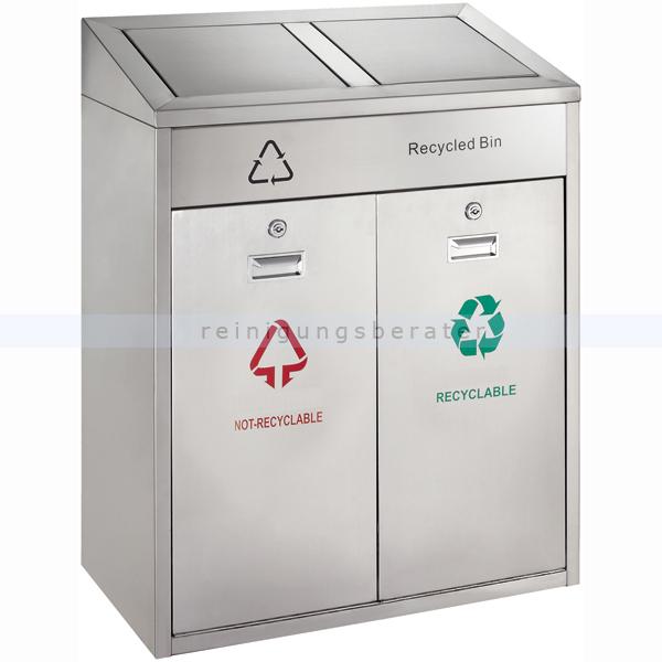Recycling Mülleimer für den Außenbereich 2 x 21 L matt Edelstahl mit Kunststoffinneneimer und Beutelhalter