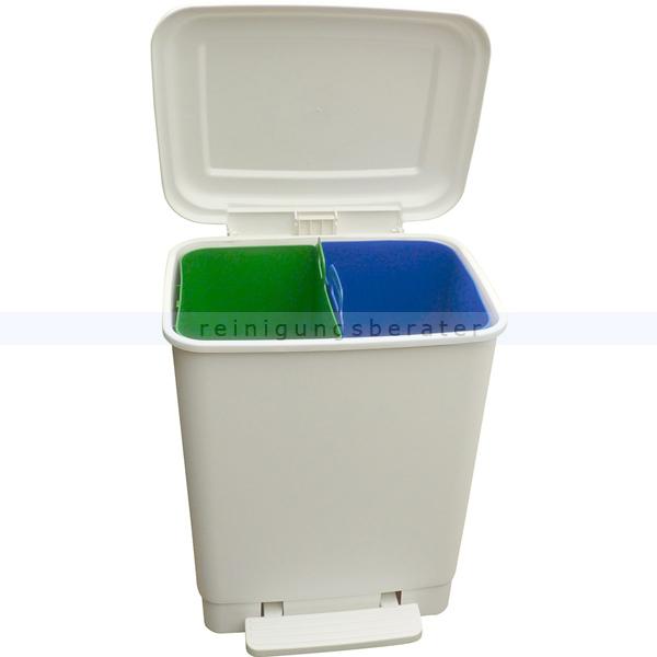 Mülltrennsystem Easybin Treteimer Duo weiß 2 x 10 L aus Kunststoff mit 2 Behältern zur Mülltrennung 6.005.797