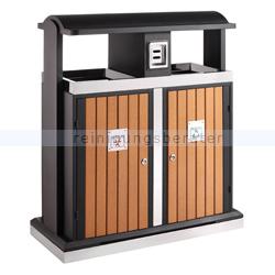 Mülltrennsystem EKO Abfallbehälter 2 x 50 L Holzoptik