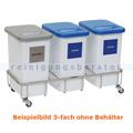 Mülltrennsystem Novocal GSE35 Fahrgestell Edelstahl 3fach