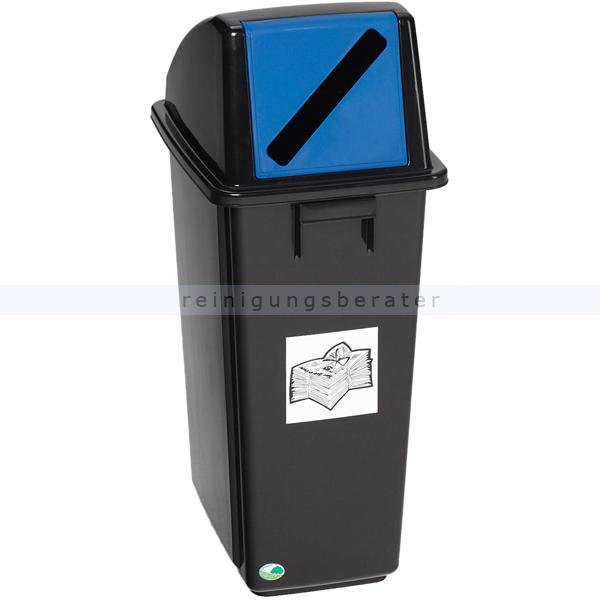 Mülltrennsystem VAR Wertstoffsammler Papier schwarz 58 L mit festmontierter Einwurfklappe, blau, für Papier 3547