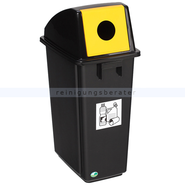 Mülltrennsystem VAR Wertstoffsammler Wertstoffe schwarz 58 L mit festmontierter Einwurfklappe, gelb, für Wertstoffe 3546