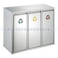 Mülltrennsystem Wertstoff-Sortieranlage 3x15 L Edelstahl