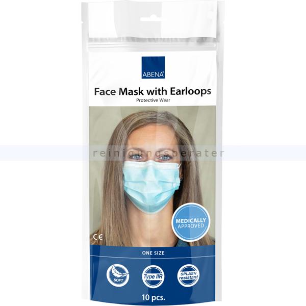 Mundschutz Abena Gesichtsmaske 3-lagig Typ IIR blau 10 Stück