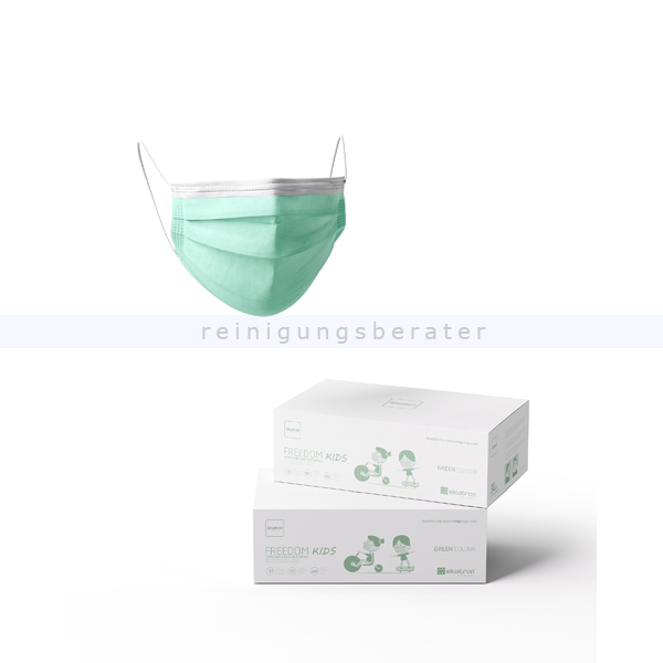 Mundschutz für Kinder Freedom Basic 3-lagig PP grün 30 Stück