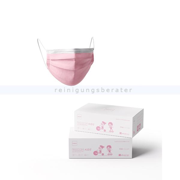 Mundschutz für Kinder Freedom Basic 3-lagig PP pink 30 Stück