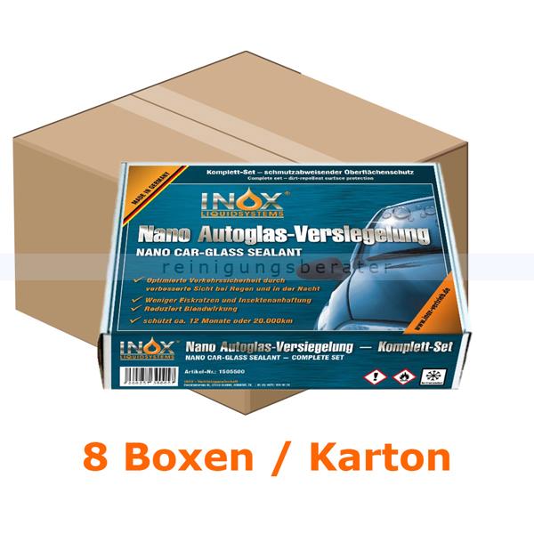 INOX Nano Car Glas Versiegelung Karton Nanoversiegelung 8 Boxen, Komplettset für Autoscheiben, Spiegel, Scheinwerfer 1505500