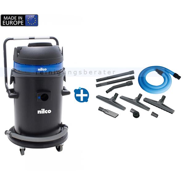 Der Praktische Nilco IC 621 Nass- und Trockensauger praktisch dank vier um 360° drehbarer Rollen und Bügel 3291003