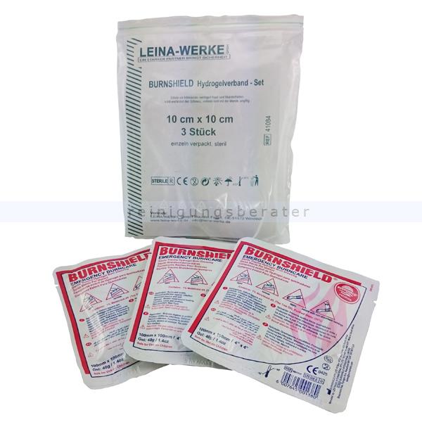 Leina Werke Notfall Brandgel Leina BurnShield Hydrogelverband Set für Erstversorgung von Verbrennungen, 3 Stück 10x10 cm 41084