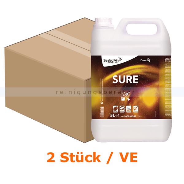 Diversey SURE Cleaner & Degreaser 2 x 5 L Fettlöser, für wasserfeste Oberflächen