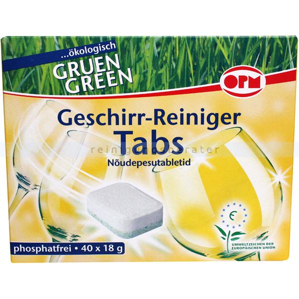 Öko-Spülmaschinentabs ORO Grün Green 40 Stück ökologische Spülmaschinentabs je 18 g 02552