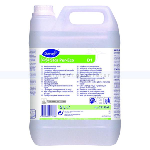 Öko-Spülmittel Diversey Suma Star Pur-Eco D1 5 L Ökologisch-zertifiziertes, mildes Handgeschirrspülmittel 7515247