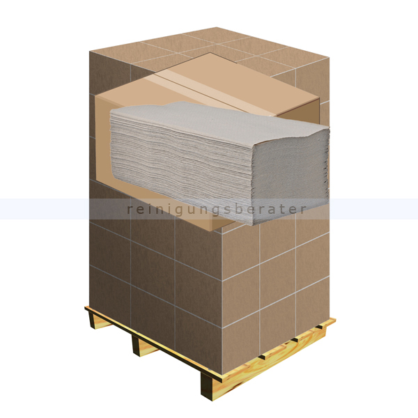 Papierhandtücher natur Recycling 25x23 cm grau, Palette