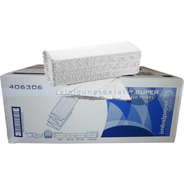 Papierhandtücher Papernet 2680 Blatt weiß 22x32 cm