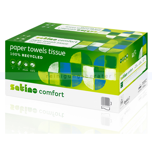 Papierhandtücher Wepa Satino 3072 Blatt hochweiss 25x32 cm
