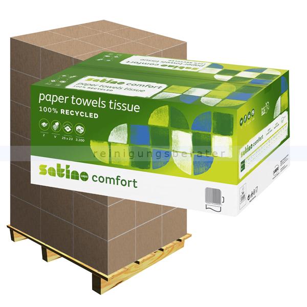Papierhandtücher Wepa Satino 3200 Blatt weiß 25x23 cm Palett