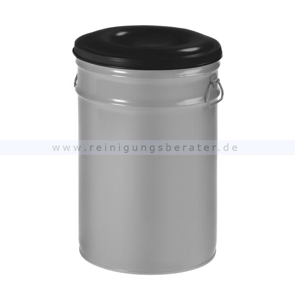 ReinigungsBerater Papierkorb (feuersicher) 60 L Aluminium Grau, Schwarz selbstlöschender Papierkorb mit Deckel 31045709