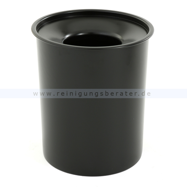 ReinigungsBerater Feuerfester Papierkorb aus Stahl, 20 L Schwarz feuerfester Papierkorb ohne Deckel, selbstlöschend 31051472