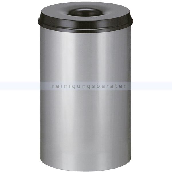 ReinigungsBerater Papierkorb (feuersicher) rund 110 L aluminium-schwarz selbstlöschender Papierkorb Farbe aluminium, mit Deckel 31002153