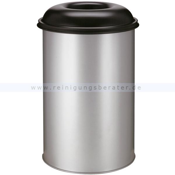 ReinigungsBerater Papierkorb (feuersicher) rund 200 L aluminium-schwarz selbstlöschender Papierkorb Farbe aluminium, mit Deckel 31023622