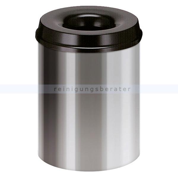 ReinigungsBerater Papierkorb (feuersicher) rund 20 L aluminium-schwarz selbstlöschender Papierkorb Farbe aluminium, mit Deckel 31023127