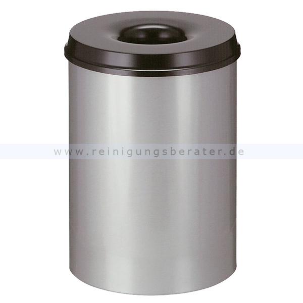 ReinigungsBerater Papierkorb (feuersicher) rund 30 L aluminium-schwarz selbstlöschender Papierkorb Farbe aluminium, mit Deckel 31001699